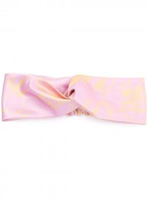 Повязка на голову со сборками и цветочным принтом Emilio Pucci. Цвет: розовый