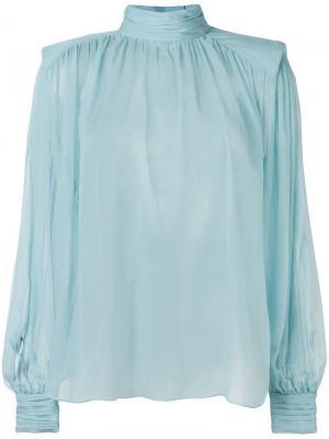Блузка с высоким воротом Alberta Ferretti. Цвет: синий