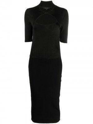 Платье-футляр с вырезными деталями Cushnie. Цвет: черный