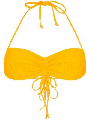 Лиф бикини бандо Ruby со сборками Frankies Bikinis. Цвет: желтый