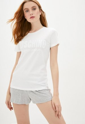 Футболка домашняя Moschino Underwear. Цвет: белый