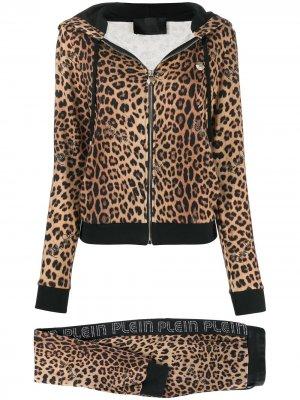 Спортивный костюм с леопардовым принтом Philipp Plein. Цвет: коричневый