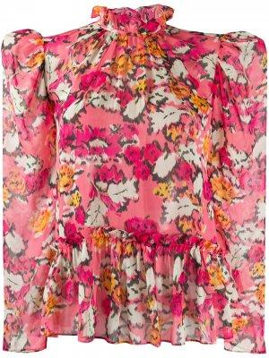Блузка с цветочным принтом Saloni. Цвет: розовый