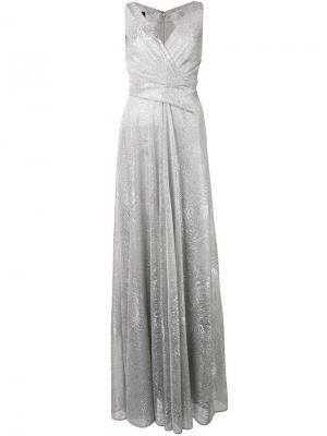 Длинное платье с драпировкой и эффектом металлик Talbot Runhof. Цвет: золотистый
