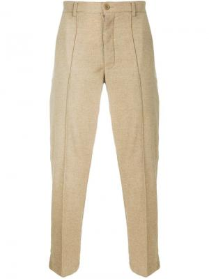 Прямые брюки с декоративной строчкой YMC. Цвет: нейтральные цвета