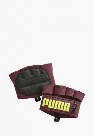 Перчатки для фитнеса PUMA. Цвет: бордовый