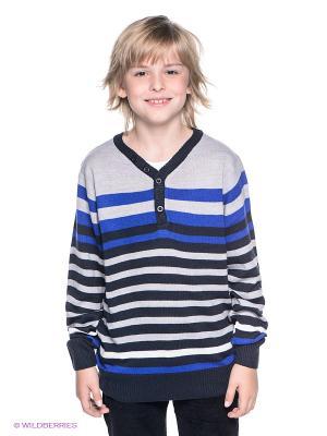 Джемпер 5,10,15. Цвет: темно-синий, серый меланж