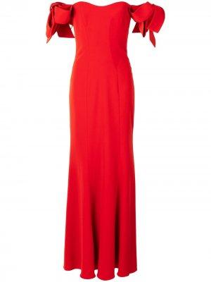 Платье макси с открытыми плечами и оборками Badgley Mischka. Цвет: красный