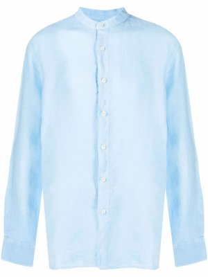 Рубашка на пуговицах 120% Lino. Цвет: синий
