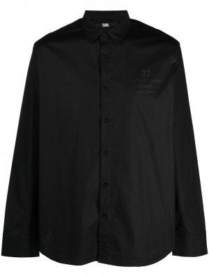 Рубашка кроя слим с логотипом Address Karl Lagerfeld. Цвет: черный