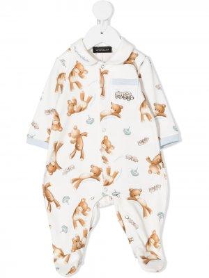 Пижама Teddy с карманом Monnalisa. Цвет: белый