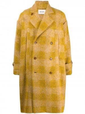 Однобортное пальто в клетку HENRIK VIBSKOV. Цвет: желтый