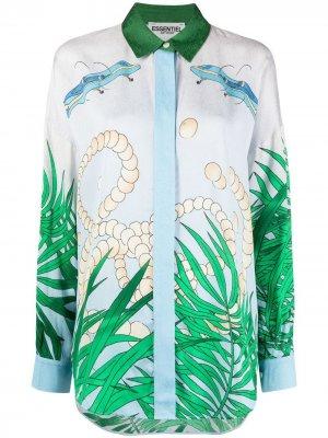 Фактурная блузка с графичным принтом Essentiel Antwerp. Цвет: синий