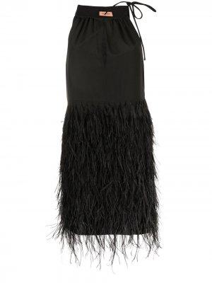 Платье мини с перьями Yves Salomon. Цвет: черный