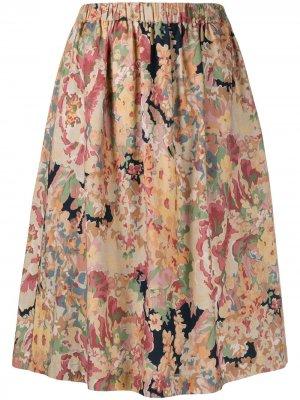 Юбка А-силуэта с цветочным принтом YMC. Цвет: нейтральные цвета