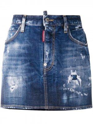 Джинсовая юбка с эффектом потертости Dsquared2. Цвет: синий