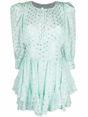 Короткое платье-трапеция с принтом For Love And Lemons. Цвет: зеленый