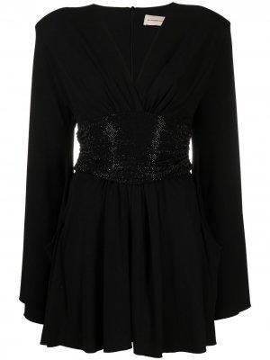 Короткое платье-трапеция с длинными рукавами Alexandre Vauthier. Цвет: черный