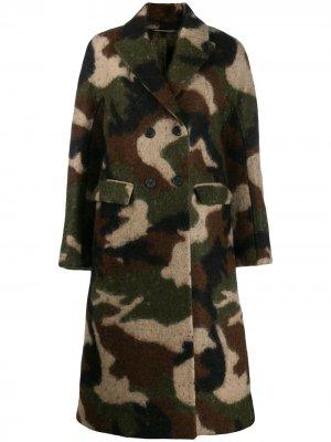 Пальто с камуфляжным принтом Ermanno Scervino. Цвет: зеленый