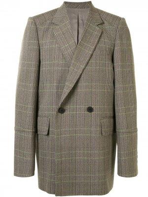 Двубортный пиджак в клетку Wooyoungmi. Цвет: зеленый