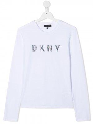Топ с логотипом Dkny Kids. Цвет: белый