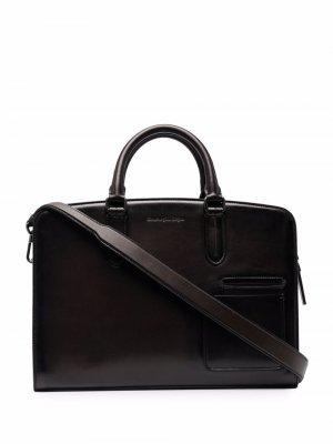 Портфель Blazer с гравировкой логотипа Ermenegildo Zegna. Цвет: коричневый