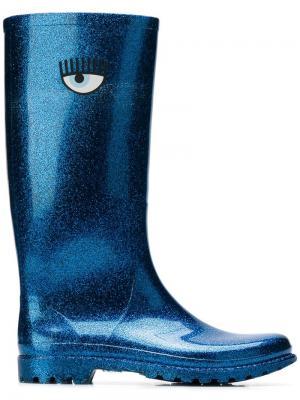 Высокие резиновые сапоги Chiara Ferragni. Цвет: синий