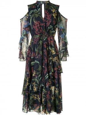 Платье с открытыми плечами и принтом Marchesa Notte. Цвет: разноцветный
