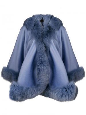 Fox fur trim cape Liska. Цвет: синий