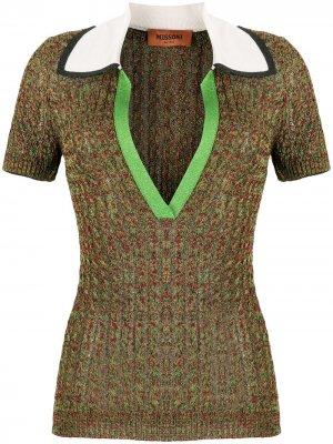 Трикотажная рубашка-поло с короткими рукавами Missoni. Цвет: зеленый