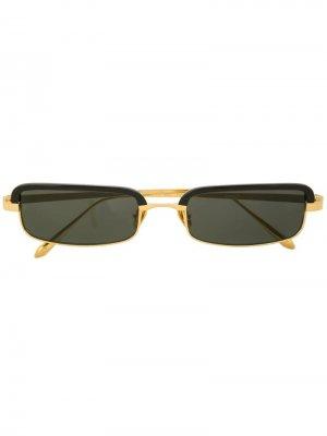 Солнцезащитные очки в прямоугольной оправе Linda Farrow. Цвет: золотистый