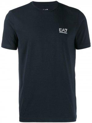 Футболка с логотипом Ea7 Emporio Armani. Цвет: синий