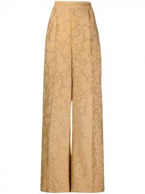 Жаккардовые брюки палаццо с узором Atu Body Couture. Цвет: золотистый