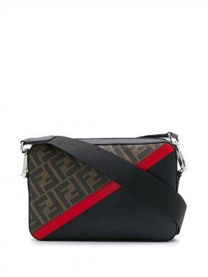 Каркасная сумка с узором Zucca Fendi. Цвет: черный