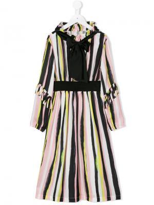 Платье в полоску Marco Bologna Kids. Цвет: черный