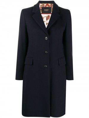 Однобортное пальто Seventy. Цвет: синий