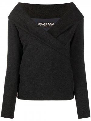 Креповый топ Lella с открытыми плечами Le Petite Robe Di Chiara Boni. Цвет: серый