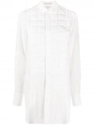 Блузка на пуговицах с дутой вставкой Bottega Veneta. Цвет: белый