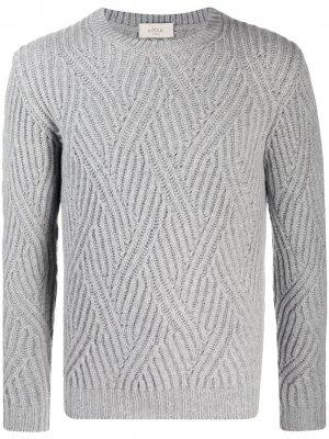 Джемпер фактурной вязки с круглым вырезом Altea. Цвет: серый