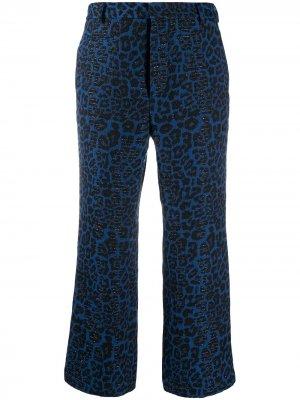 Укороченные брюки с леопардовым принтом R13. Цвет: черный
