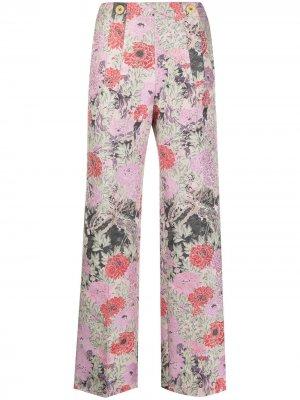 Прямые брюки с цветочным узором Patou. Цвет: розовый