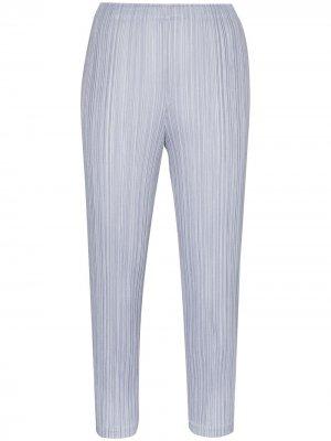 Укороченные плиссированные брюки Pleats Please Issey Miyake. Цвет: синий
