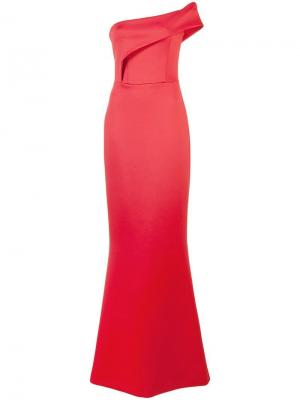 Длинное асимметричное вечернее платье Black Halo. Цвет: красный