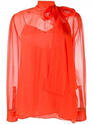 Шифоновая блузка с бантом Valentino. Цвет: оранжевый