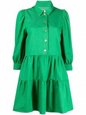 Джинсовое платье мини А-силуэта Essentiel Antwerp. Цвет: зеленый