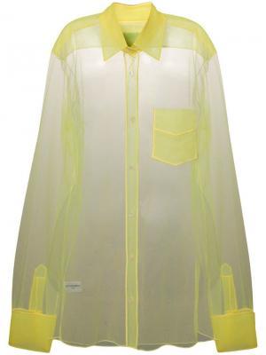 Прозрачная блузка с длинными рукавами Viktor & Rolf. Цвет: желтый