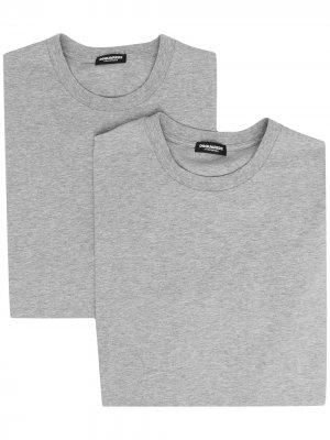Комплект из двух футболок с логотипом Dsquared2. Цвет: серый