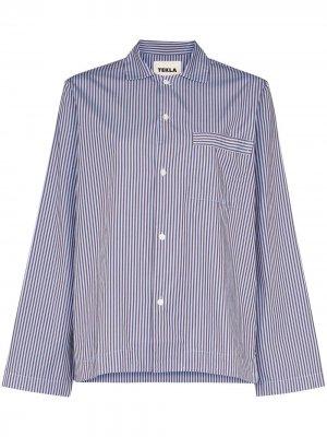 Пижамная рубашка в полоску TEKLA. Цвет: синий