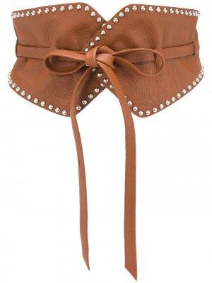 Пояс с заклепками B-Low The Belt. Цвет: коричневый
