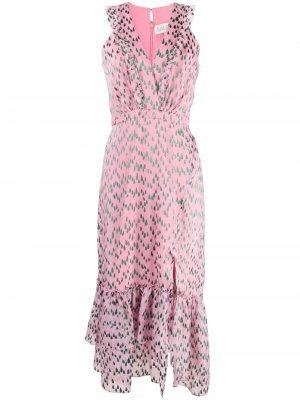 Платье с V-образным вырезом и принтом Saloni. Цвет: розовый